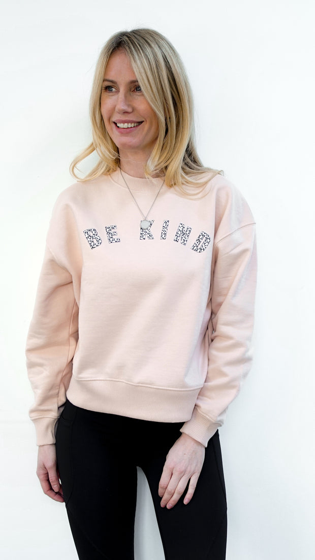 Pink & Leopard 'Be Kind' Sweatshirt.