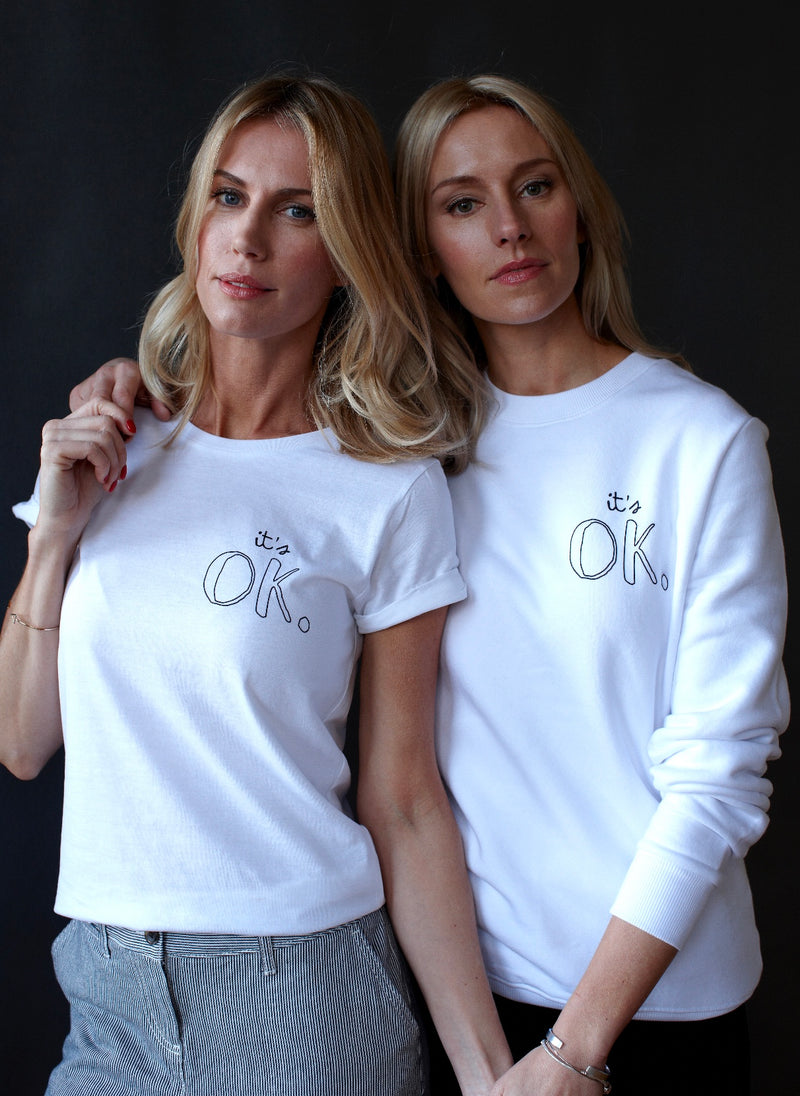 White & Black IT'S OK™ Roll Sleeve Tee for MIND Charity