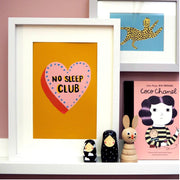 No sleep club heart print - Mustard by Eleanor Bowmer