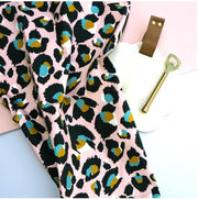 Pink Leopard Print Tea towel by Eleanor Bowmer