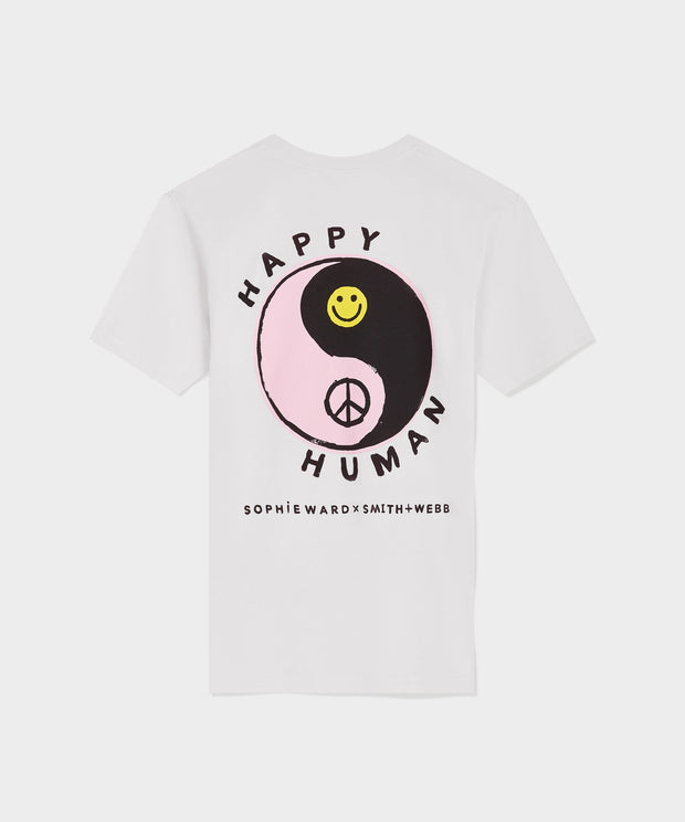 White HAPPY HUMAN™ Tee In aid of MIND Charity.