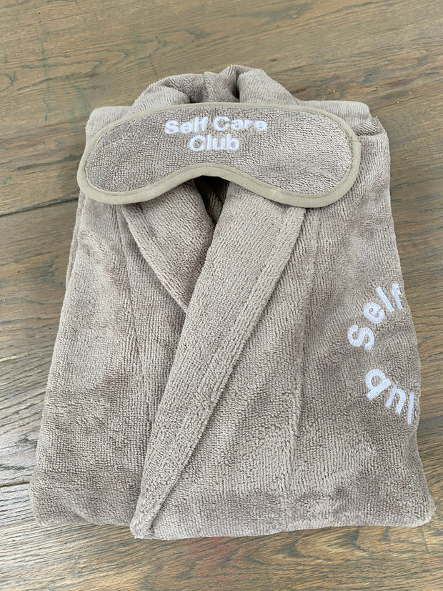 TAUPE SUPER SOFT - SELF CARE CLUB EMBROIDERED LUXURY BATHROBE