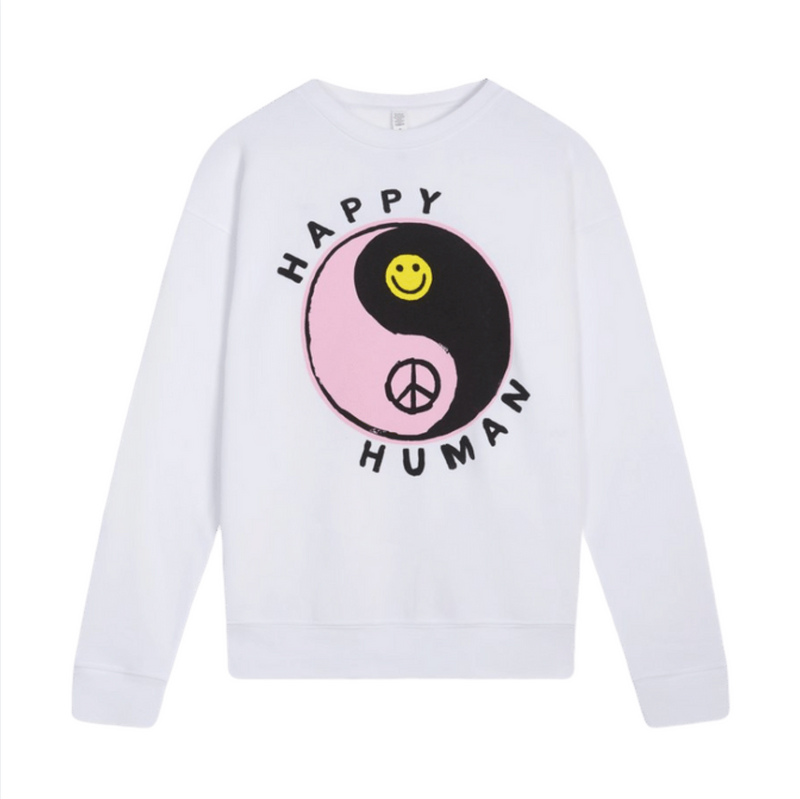 White HAPPY HUMAN™ Sweatshirt in aid of MIND Charity