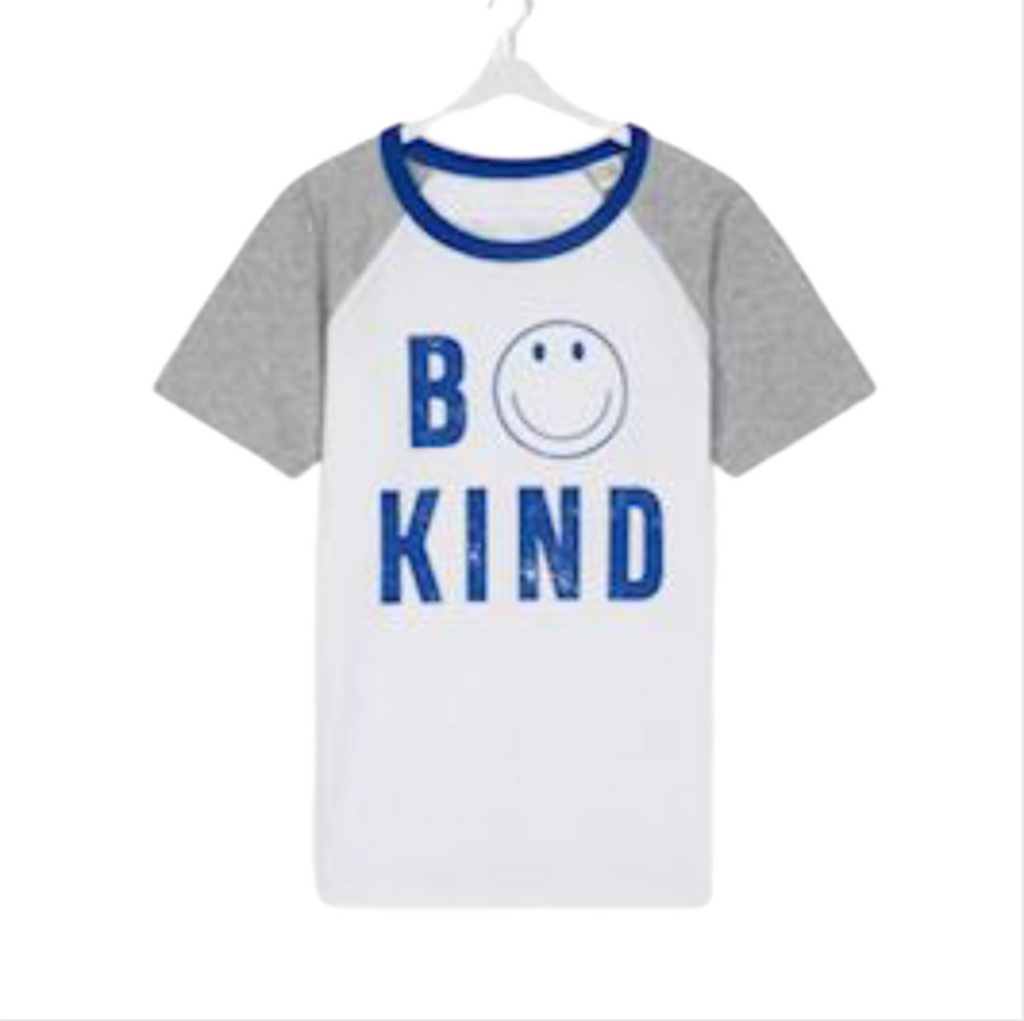 Kids White and Blue BE KIND Contrast Sleeve Tee for Anti Bullying Pro™