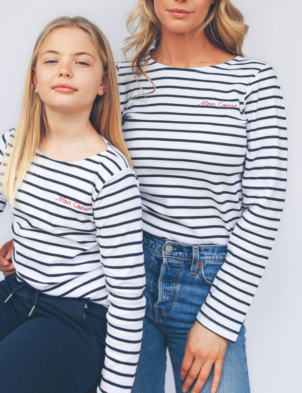 White & Navy stripe 'Mon Coeur' Embroidered long sleeve tee.