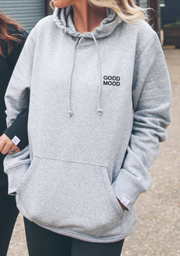 Unisex Grey & Black 'Good Mood' - Embroidered Hoodie