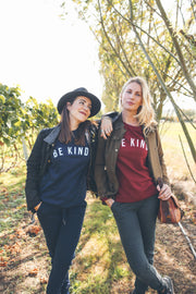 Burgundy & baby pink BE KIND Sweatshirt for Coppafeel charity