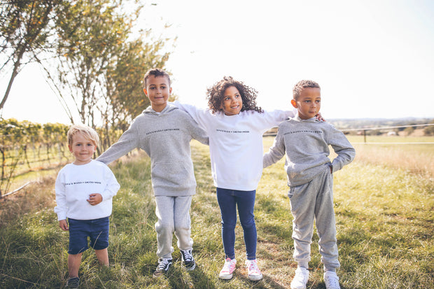White HAPPY LITTLE HUMAN Jumper in aid of YOUNG MINDS