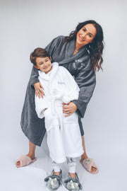 Grey Super Soft - SELF CARE CLUB Embroidered Luxury Bathrobe