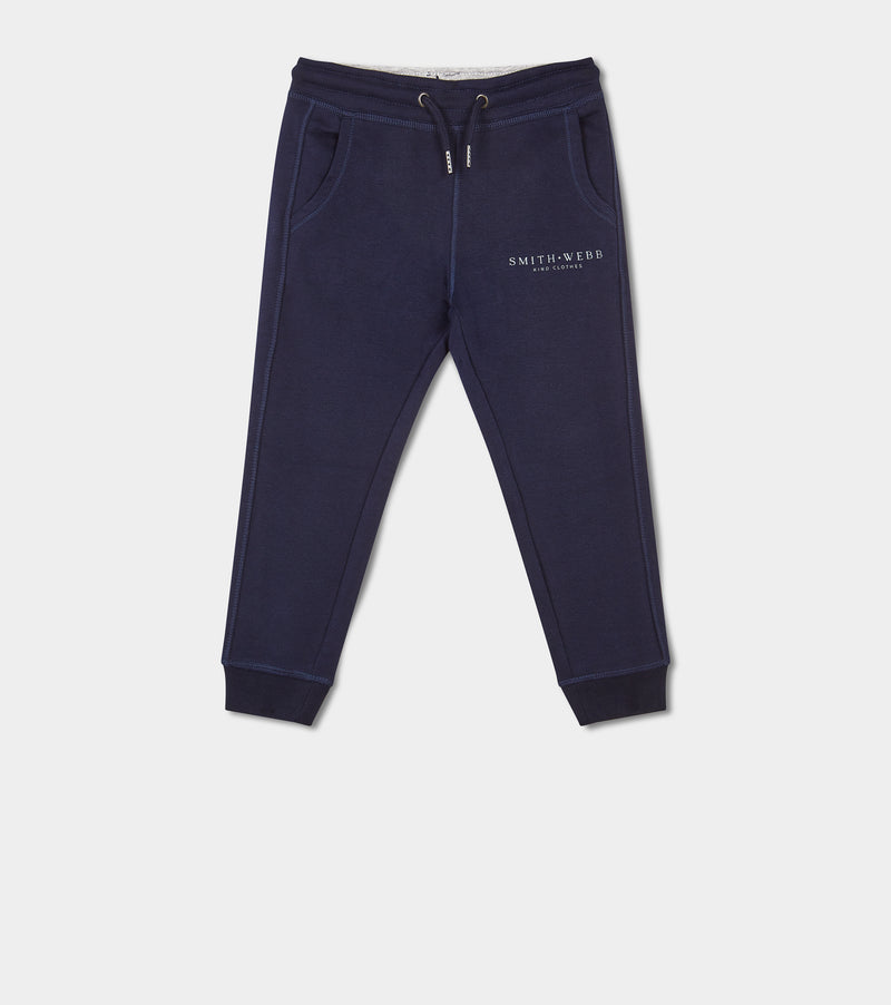 Kids French Navy & Baby Blue SMITH WEBB™ Logo Joggers