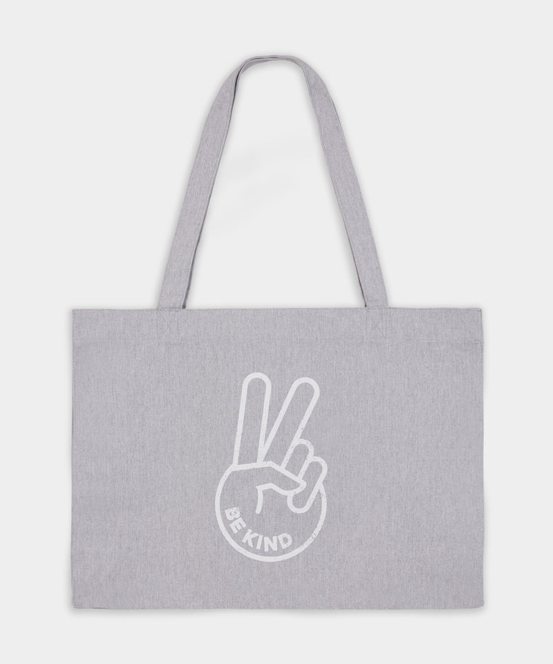 Large BE KIND™ Grey & White Recycled Cotton Shopper Bag