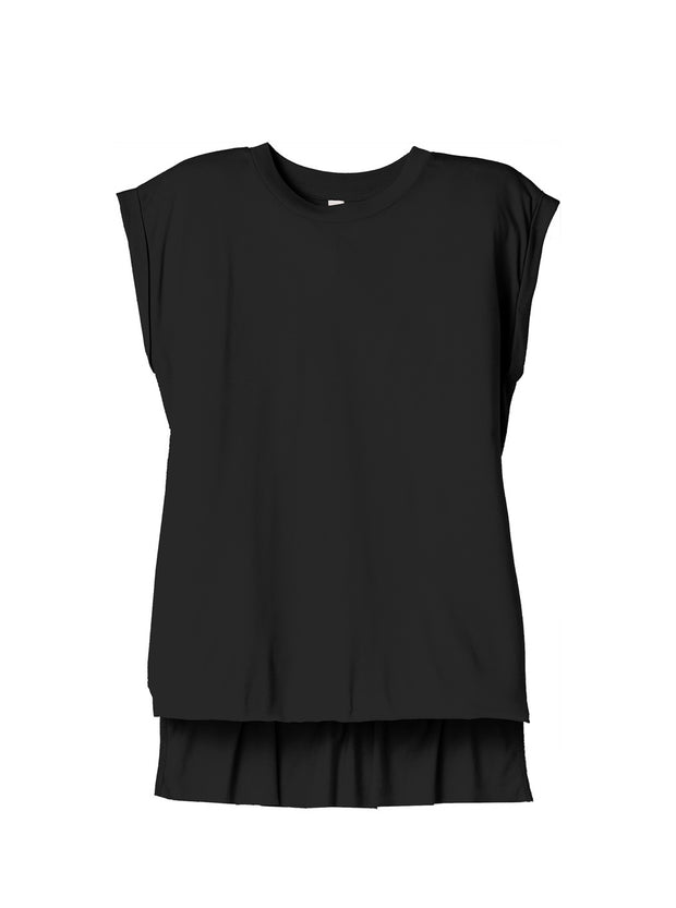Black Super Soft Flowy Rolled Tee - The Simple Collection