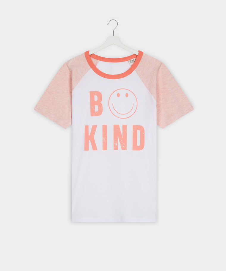 Kids White and Coral BE KIND Contrast Sleeve Tee for Anti Bullying Pro