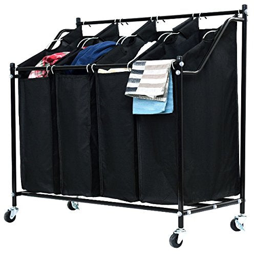 4 Bags Compartment Black Rolling Laundry Hamper Sorter
