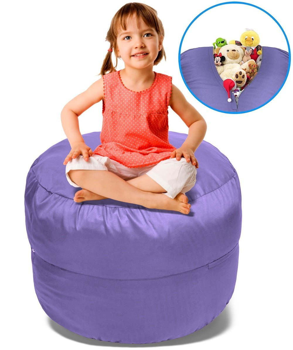 Beanbob Stuffed Animal Storage Bean Bag Chair In Purple