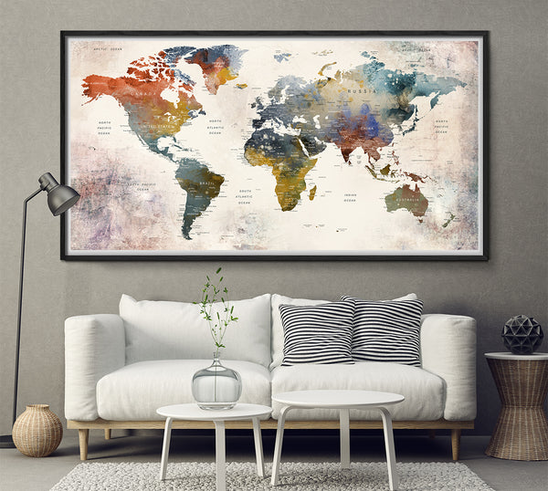 Push Pin Travel Map of World, World Map Poster Wall art, Push Pin Map, Push Pin World Map, World Travel Map, Large Wall art, Travel Gift - L156