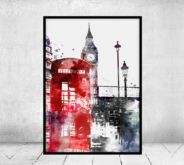 London Watercolor Print, Watercolor Poster, London Wall