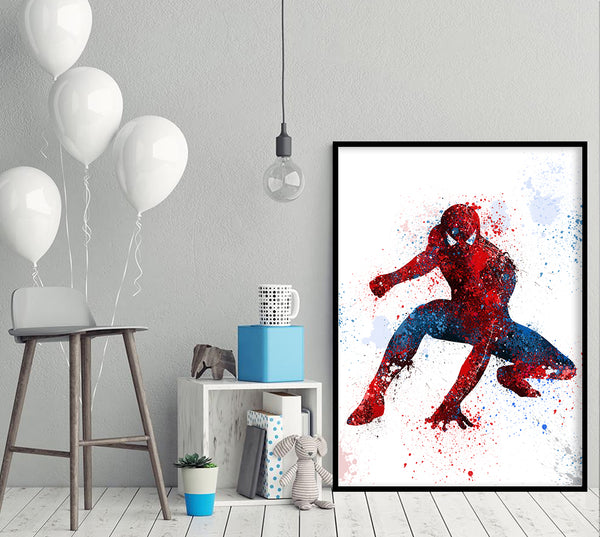 Spiderman Print, Marvel Superhero Watercolor Art, Nursery Art Print Wall Decor, Kids Bedroom Decor, Baby Room, Wall Art - 62