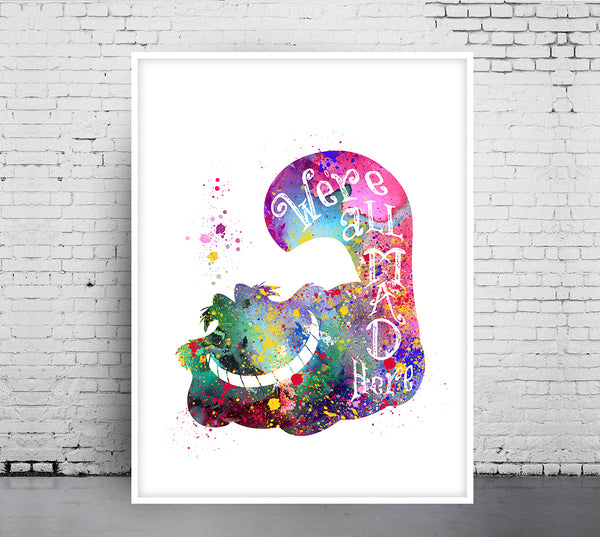 Chesire Cat Print, Alice in Wonderland watercolor, home arts, decor, cartoon kids children Illustration, Gift, Nusery Poster - 327