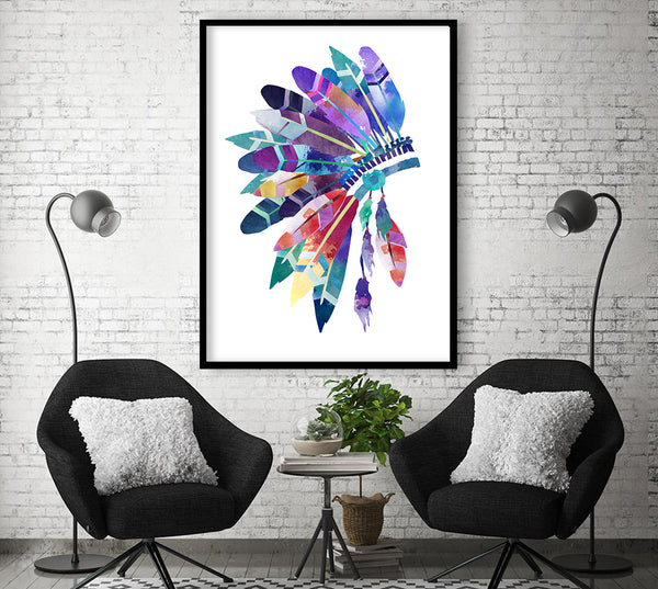 The native Headdress - headdress art print - nature art print - native american art print - feathers art print.watercolor headdress.giclee print - 167