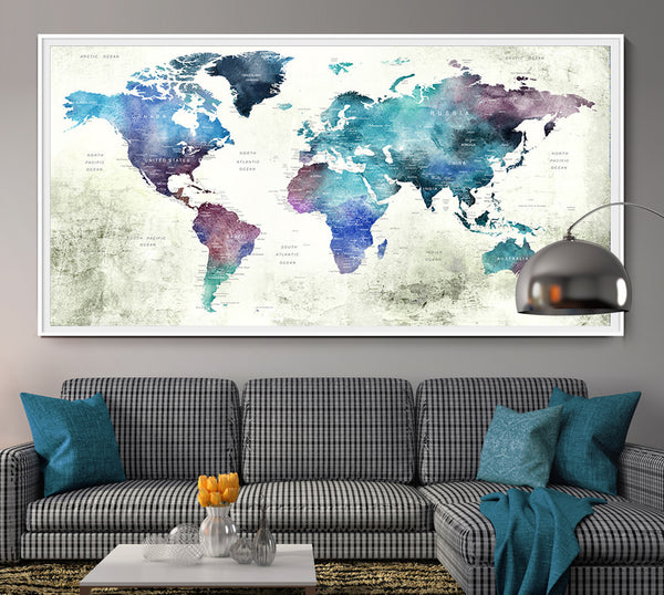 Push pin world map poster print wall artwall art print extra large push pin world map poster print world map wall art world map print world map poster gumiabroncs Image collections
