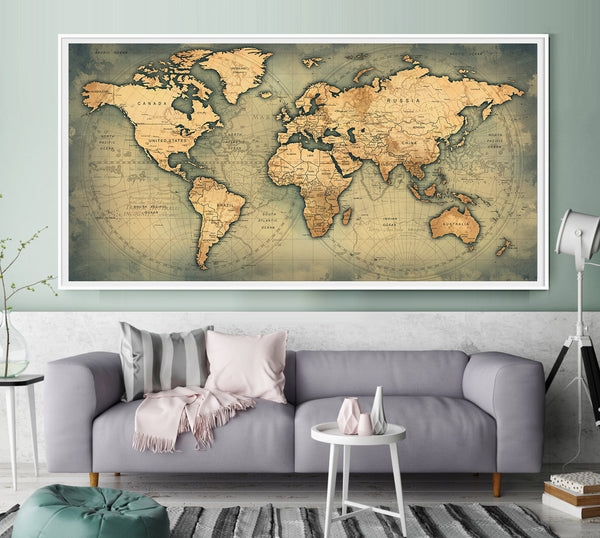 World Map Watercolor Print Travel Poster, Travel Map Watercolor, Map Art, Large Map, Map Poster, Map Painting, Map Home Decor - L78