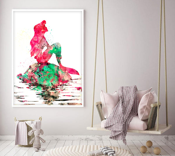 Mermaid Wall Art Print, Mermaid Girls Nursery Print, Girls Room Mermaid Print and Decor, Watercolor Mermaid Wall Art, Girls Room Decor - 72