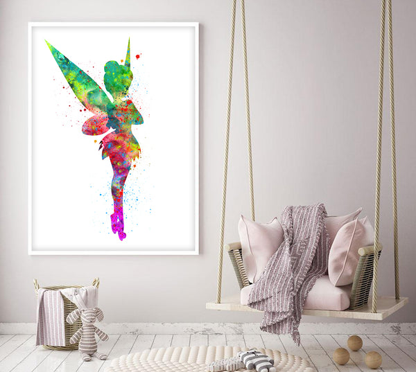 Tinkerbell Poster,Tinker Bell Watercolor Art Print Baby Shower Gift, Tinkerbell Wall Decor, Baby Shower Nursery Wall Decor peter pan - 69