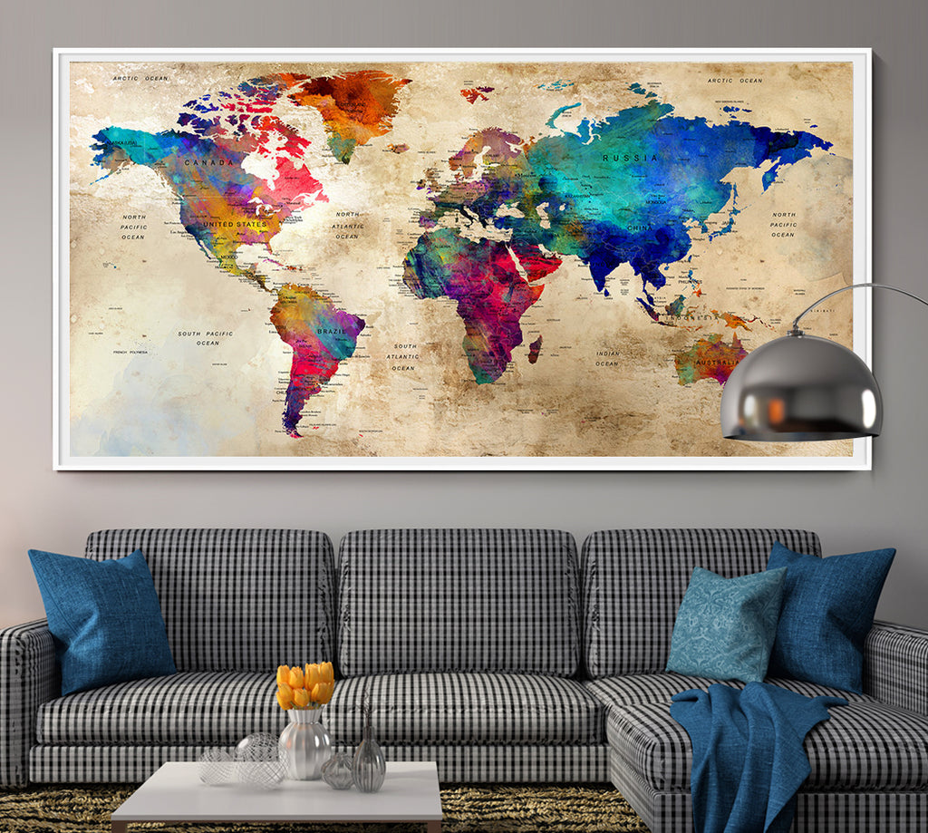 Push pin world map wallartprints large world map wall art poster world map wall artworld map push pinpush pin map artworld map art printworld map watercolor arttravel l93 gumiabroncs Image collections