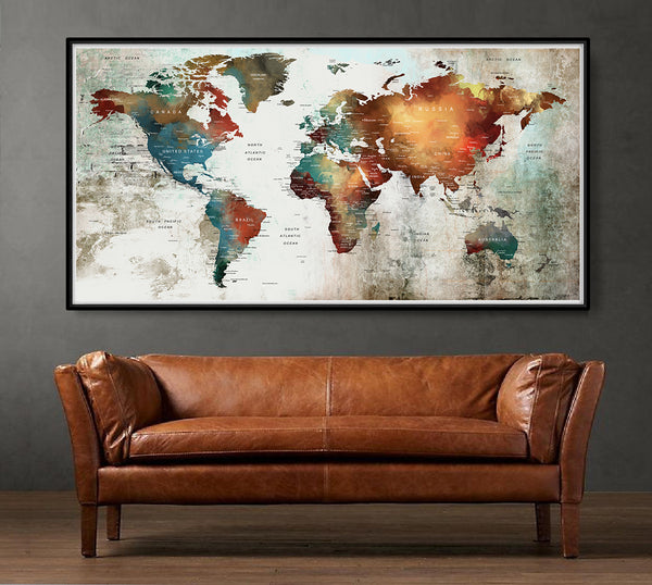 World Map Art Poster