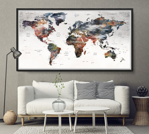 Abstract Modern Wall Art World Map Poster Print for Wall Decor - Wall Art Print for Home and Living Room Decor - Longer Large World Map Art - L158