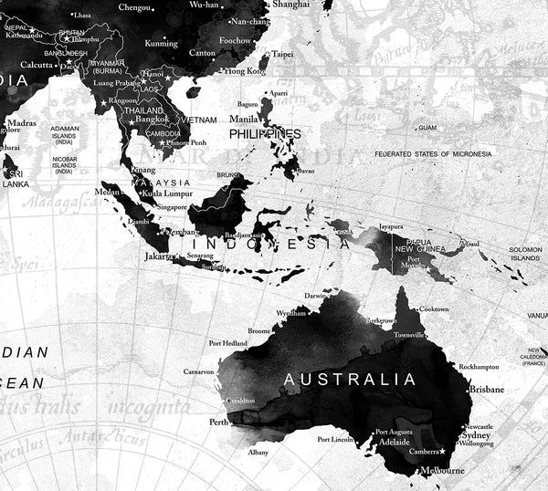 World Map Poster, Push Pin Travel Map, Black And White World Map ...