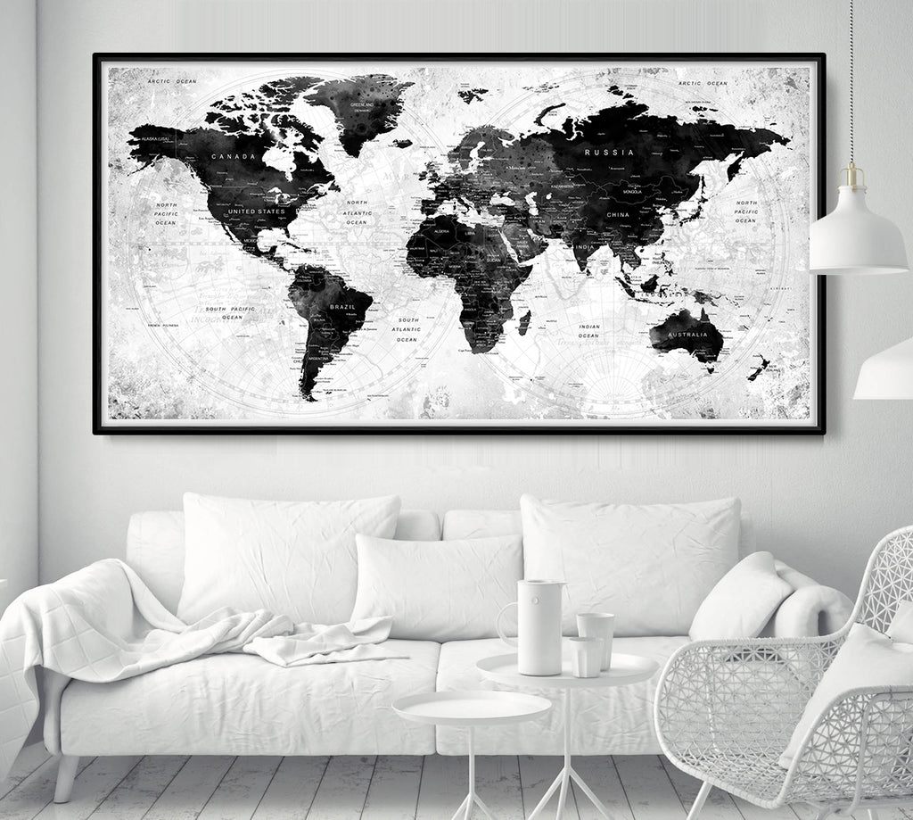 World Map Poster Push Pin Travel Map Black And White World Map