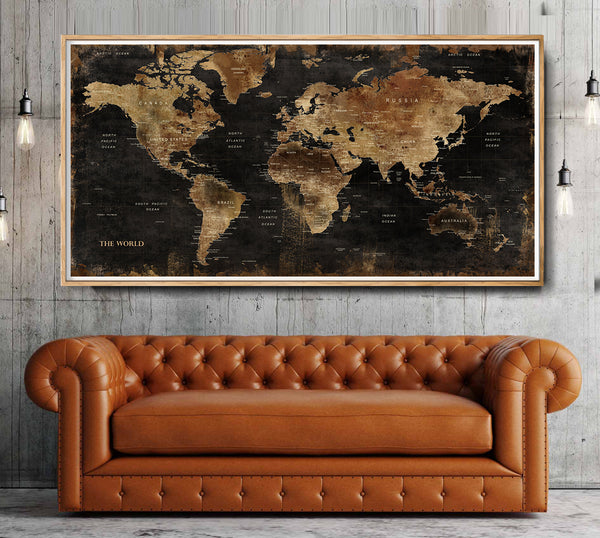 World Map Office Art