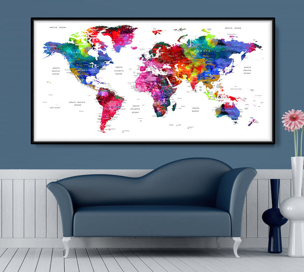 World Map Art,World Map Watercolor Painting,World Map Abstract,Word Map Print ,World Map Print,World Map Poster Art,World Map Painting,World Map - L22