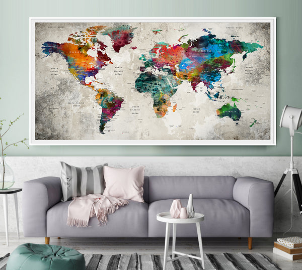 World map with countries, Ofiice Decor wall art Modern home decor - on map lamp shade, map room divider, map travel, map venezuela flag, map in india, map in europe, map with states, map facebook covers, map cornwall uk, map tools, map recipe, map cross stitch, map of montana, map with mountains, map se usa, map color, map games, map design, map with title, map example,