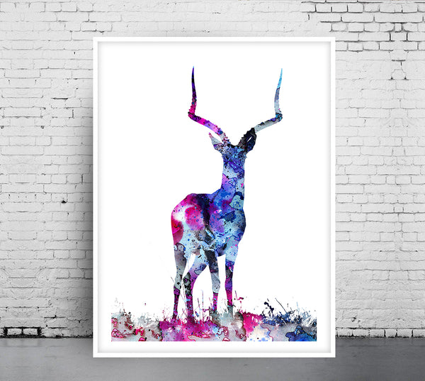Deer Nursery Art, Deer Art Print, Deer Home Decor, Deer Illustration Stag Print, Deer Decor Artwork, Watercolor Deer Poster, Deer Wall - 71