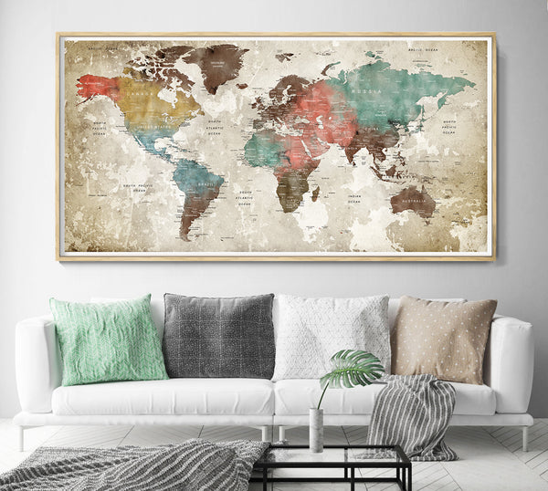 Abstract world map detailed world map wall art with countries names poster print home decor - L40
