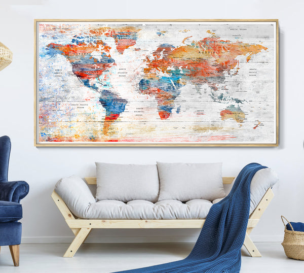 Wanderlust World Map Poster | World Map Print | Watercolor World Map | World Travel Map Gift | Watercolour World Map Poster Wall Art Decor -L107