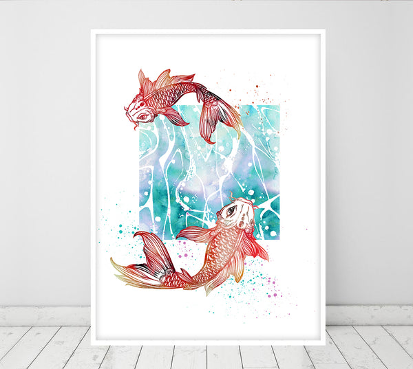 Koi carp, Koi fish, feng shui decor, Zodiac sign, feng shui wall art home decor, Mothers Day from Daughter, teen girl room decor - 350