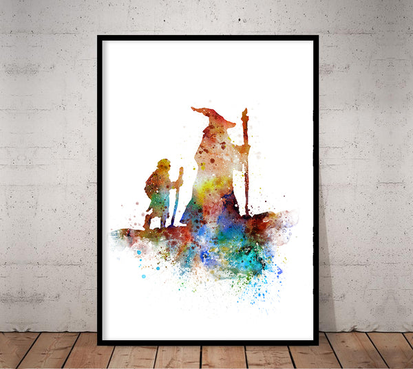 Lord of the Rings Poster Gandalf Poster Hobbit Poster Watercolor Print Kids Decor Art Print Wall Decor Home Decor - 300