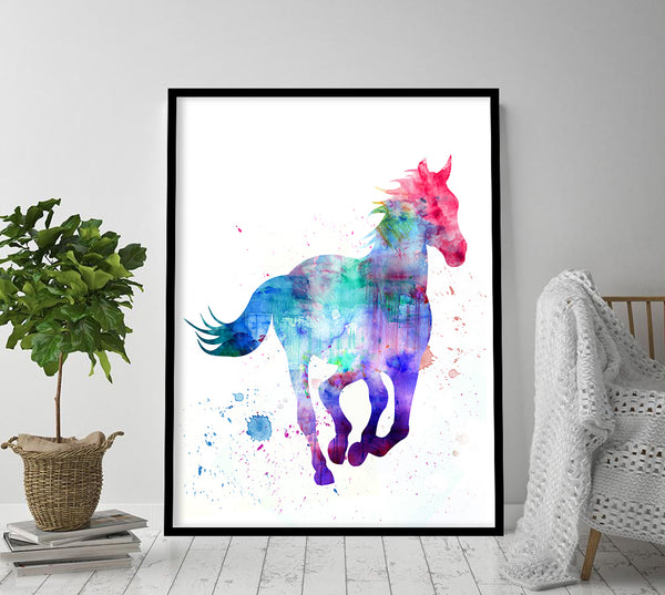 Horse Print Horse Wall Art Stallion Painting Horse Painting Horse Watercolour Wall Hanging Blue Horse 08