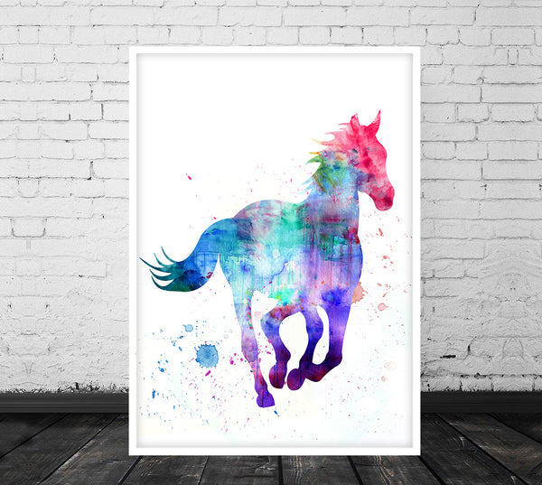 Horse Print, Horse Wall Art, Stallion Painting, Horse Painting, Horse Watercolour Wall Hanging, Blue Horse - 08