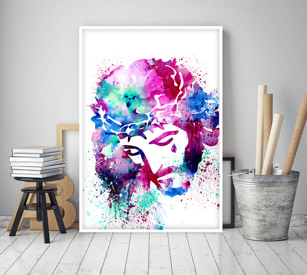 Jesus watercolor art, Jesus art decor, Christ Wall art, Christ Poster, Christianity Poster, Wall decor, Christmas Art, Christian Gifts - 318