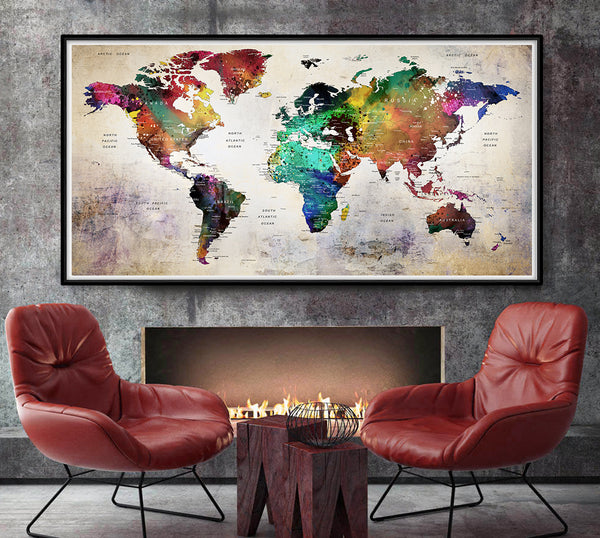 Wanderlust, Large world map, world map poster, travel map, world map print, gift decor, home decor - L73