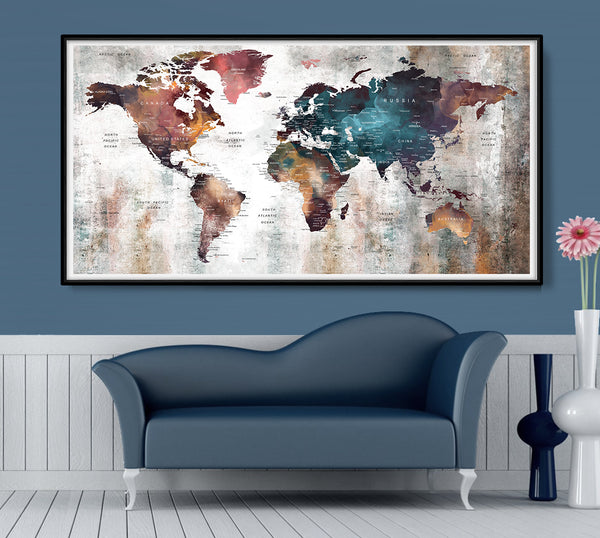 Watercolor world map, colorful map of the world, world map poster, home decoration, world map print, office decor, watercolor map art - L165