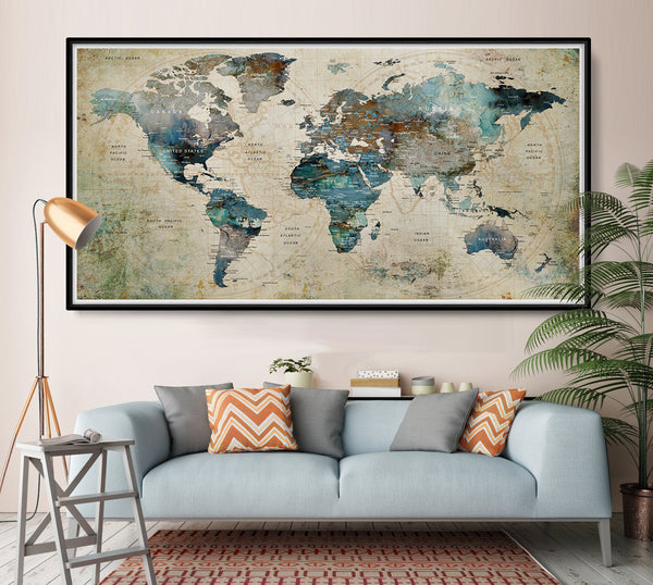World map, World map poster, Travel map, World map wall art, map, world map print, Large world map, Map of the world - L35