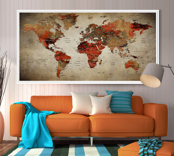 World Map-World Map Print.Map ART Print Vintage World Map Poster.Nursery wall art print - L53