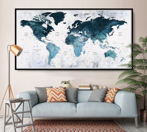 Abstract World Map, Exclusive World Map, World Map, World Map  Poster, Unique World Map, World Map Print, Colorfull World Map, World Map Art - L89