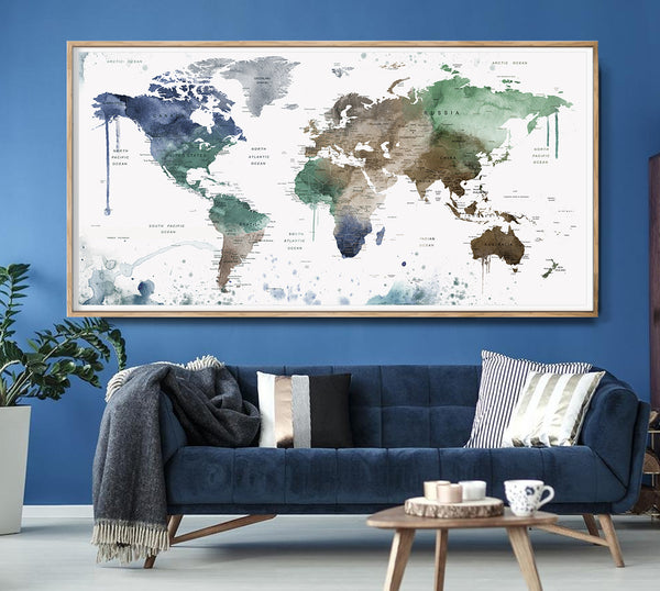 WORLD MAP, Map of the World, Large World Map, World Map Poster, World Map Print, Watercolor Map, Painted Map, Map Art, Painted  -L75